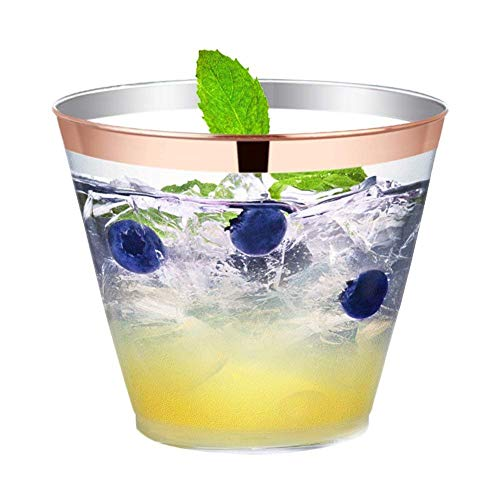 Greenzy 100 Disposable Plastic Wine Cup 9 oz Clear Plastic Cups Fancy Reusable Tumblers Elegant Party Cup Cocktail glasses Disposable Wedding Cups Rose Gold Rimmed Bulk Party Cup BPA Free Drinking Cup