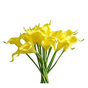 Mandy's 20pcs Yellow Artificial Calla Lily Flowers 13.4″ for Home Kitchen & Wedding Decorations