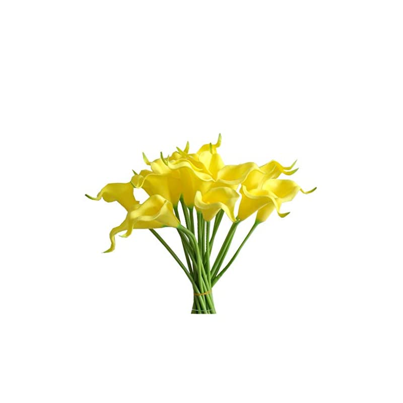 """silk flower arrangements mandy's 20pcs yellow artificial calla lily flowers 13.4"""" for home kitchen & wedding decorations"""