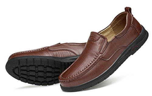 On Loafers Fashion Dark Sole Breathable Leather TDA Brown Rubber Casual Driving Slip Business Mens Shoes OnYWwqAz