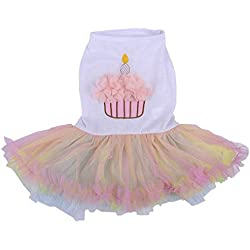 Colorful Pet Dog Birthday Cake Dress Clothes Lace Skirt New Birthday Party Apparel,Multi Size