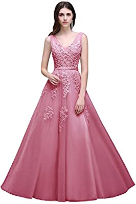 MisShow Women's Double V Neck Applique Long Prom Tulle Evening Gowns Formal