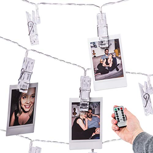 Mind-glowing 40 LED Photo Clip String Lights (16.4ft) with Remote Control - Battery Powered Picture Hanging Clothespins Lighted in Warm White – Bedroom Wall Decor, Fairy Lighting with Polaroid Holders by Mind-glowing