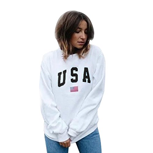 Gyoume Women USA Print Hoodie Tops Pullover Tops Blouse Long Sleeve Sweatshirt Jumper Shirt Outwears at Amazon Womens Clothing store: