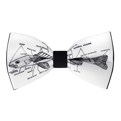 Fish-bone bow tie pattern ichthyology pre-tied shape, by Bow Tie House (Large, - Fish Black Tie