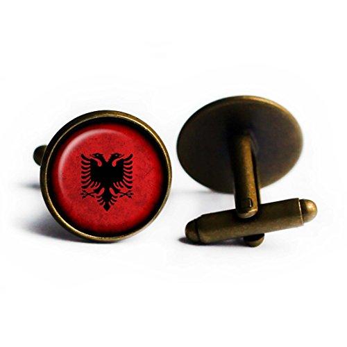 Albania Albanian Flag Antique Bronze Cufflinks by Elysian Workshop