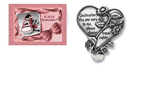 Will You Be My Godmother Card and Godmother Visor Clip - Girl Set (2 Pieces)
