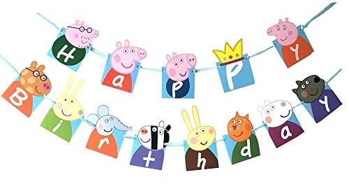 YIBAOLAI Birthday Banner Peppa Pig Birthday Decoration Flag Birthday Party Supplies Decoration Banner