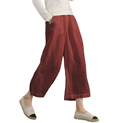 Ecupper Women's Elastic Waist Causal Loose Trousers Plus 100 Linen Cropped Wide Leg Pants Wine Red 12-14