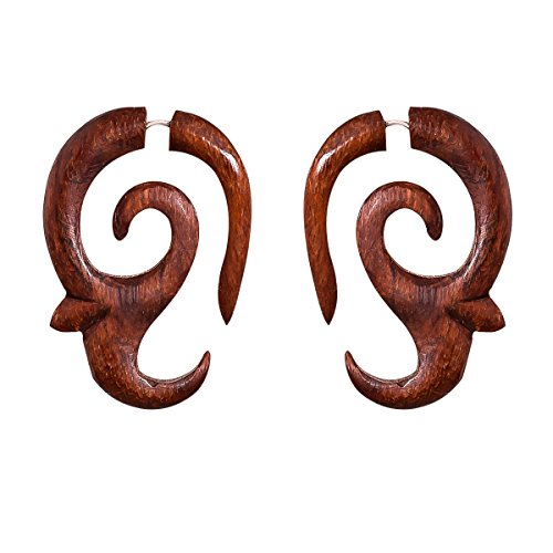 Crafted studio Womens Tibetan Antique Wooden Carved African Tribal Big Fake Gauge Earrings 1.8