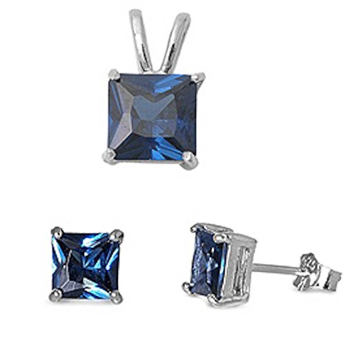 Gift For Herprincess Cut Blue Simulated Sapphire Pendant & Earring .925 Sterling Silver Set ()