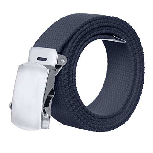 [Canvas Military Style Belt with Silver Buckle – Navy] (Navy Belt Buckle)