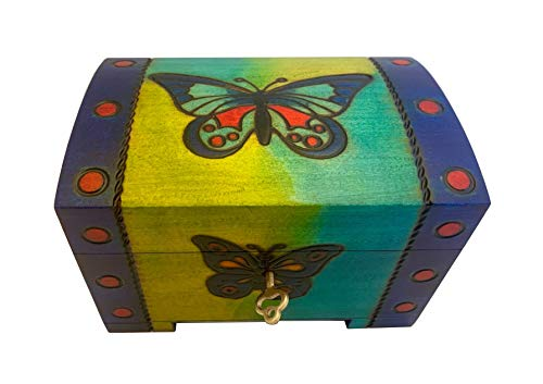 Butterfly Blue Box Polish Linden Wood Jewelry Chest w/ Lock and Key from PolishArt
