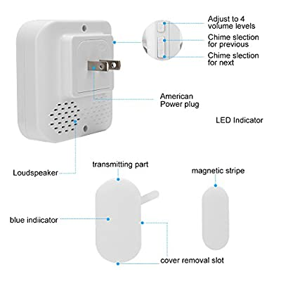 Wireless Doorbell Sensor Chime, Entry Home Door Window Burglar Alarm with 2 Magnetic Door Sensor and 2 Receiver with Operating at 600-feet/52 Chimes/4-Level Volume
