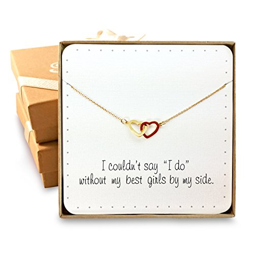 Bridesmaid Gifts - Two Interlocking Hearts Necklace, 16+2