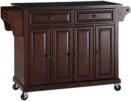Center Islands Kitchen - Crosley Furniture Rolling Kitchen Island with Solid Black Granite Top - Vintage Mahogany