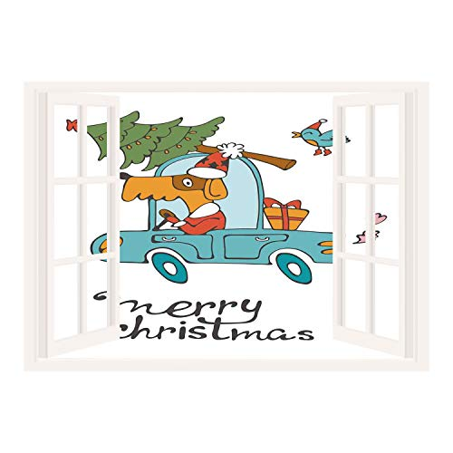 SCOCICI Wall Mural, Window Frame Mural/Christmas,Blue Vintage Car Dog Driving with Santa Costume Cute Bird Tree and Gift Present,White Multi/Wall Sticker Mural ()