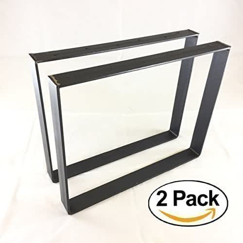 "2 Pack - (2"" Wide - 1/4"" Thick Metal) (Size Range: 8-25""L x 8-25""H) Square Rustic Reclaimed Coffee Dining Table bench Legs Steel Rectangle Brackets"