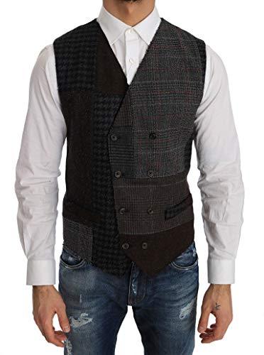 (Dolce & Gabbana Brown Wool Check Pattern)