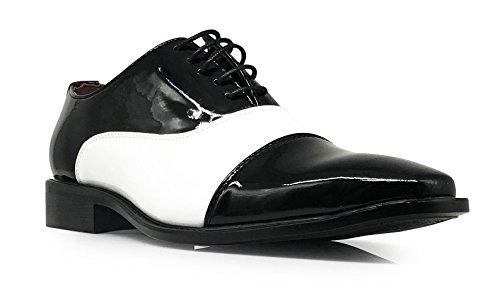 Keda02 Men's Faux Patent Two Tone Tuxedo Cap toe Oxfords Sleek Lace Up Dress Shoes (9.5, Captoe) (1920s Mens Shoes)