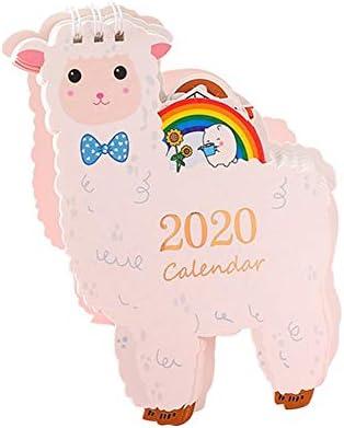 2020 Kalender Mini-Nette Karikatur Stand Up Desktop-Monatskalender Home Office Desktop-Supplies-Dekorationen (Color : Alpaca)