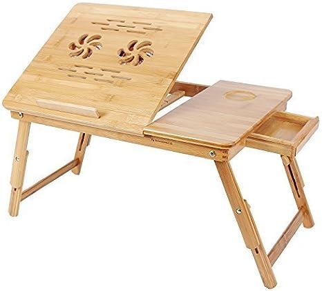 Songmics Neu Bambus Laptoptisch Notebooktisch Mit Kühler Höhenverstellbar Faltbare 55 X 35 X 29 Cm Betttisch Pc Tisch Schreibtisch Lld01f Natur Küche Haushalt