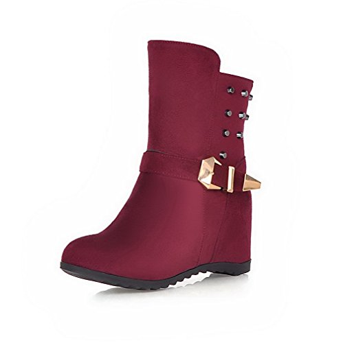 AmoonyFashion Womens Round Closed Toe High-Heels Frosted Low-top Solid Boots Claret krj16cOJJ