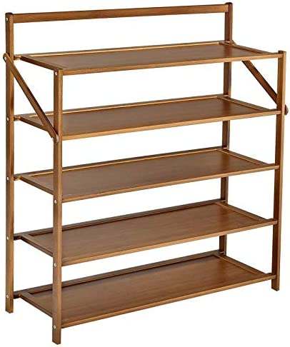 CUSMOR 5 Tiers Shoe Rack, Adjustable Shoe Shelf, Space Saving Shoe Storage Organizer, Easy to Assemble, Bamboo Shoe Shelf Organizer for Entryway, Closet, Hallway (Brown)