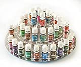 Essential Oil Carousel Storage Display Rack for 5ml bottles - 3 tiered - Clear w/Mirrored Base by TheraPure Health Essentials