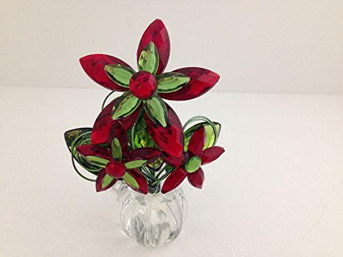 """Ganz Crystal Expressions Red & Green Flower Posy Pot - 4""""..."""