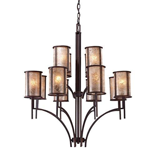 - ELK 15036/8+4, Barringer Large Mica 2 Tier Chandelier Lighting, 12 Light, Aged Bronze