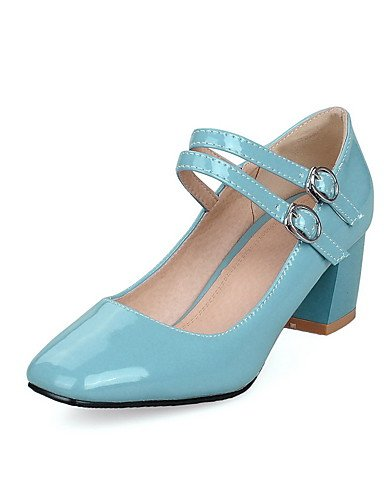 GGX/ Damen-High Heels-Lässig-Kunststoff-Blockabsatz-Stile / Quadratische Zehe / Geschlossene Zehe-Schwarz / Blau / Rot / Weiß blue-us7.5 / eu38 / uk5.5 / cn38