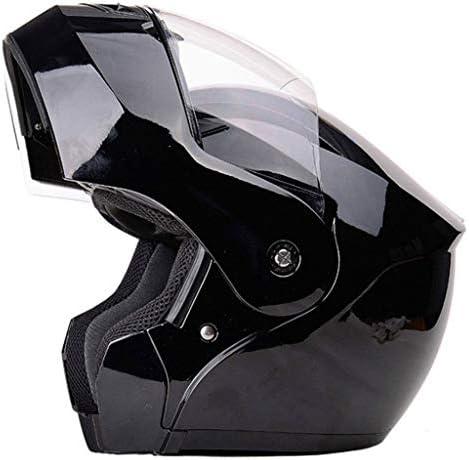 NJ ヘルメット- オートバイのヘルメットの男性と女性の四季ユニバーサルオープンフェイスヘルメット防曇ヘルメット (Color : Bright black, Size : XXL)