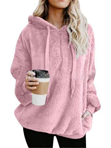 tamaño la de Hoode sintética grande Rosado con de XL Color de capucha la del de Abrigo capucha mujeres las sudadera sudadera con tamaño extra de US sólido piel Haokan sólido Yqwxp5F