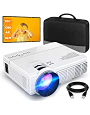 """Mini Projector (100"""" Screen Included), Supports 1080P and 200'' Display, 50,000 Hrs LED Lamp Life, Portable Movie Projector, Compatible with TV Stick, HDMI, VGA, TF, AV and USB"""