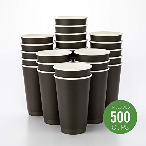 - 500-CT Disposable Black 16-oz Hot Beverage Cups with Double Wall Design: No Need for Sleeves - Perfect for Cafes - Eco Friendly Recyclable Paper - Insulated - Wholesale Takeout Coffee Cup
