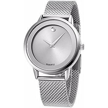 Reloj De Mujer Moda Fashion Relojes de Mujer Plateados Women Quartz Stainless Steel Band RE0072