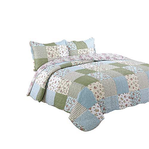 Jameswish 3pc Floral Patchwork Print Bedspread - Reversible Microfiber Blue/Green Quilt Set - Full Queen Flower Patchwork Coverlet Wrinkle-Free (Patchwork Blue Quilt)