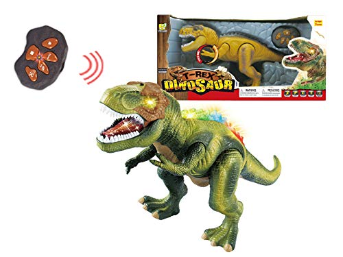 (Papa N Me Store Remote Control RC T-Rex Spinosaurus Tyrannosaurus Dinosaur Electronic Toy Action Figure Walking & Moving(Color May Vary))
