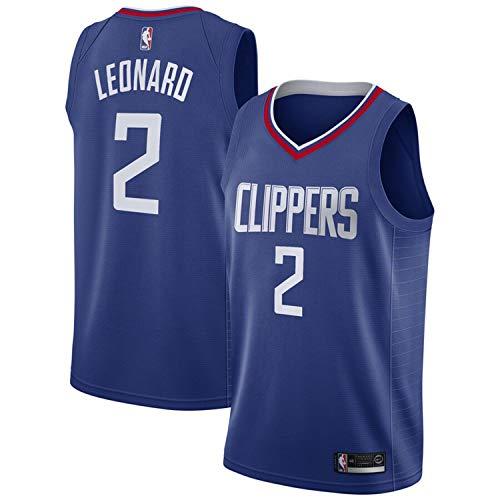 Men's T-Shirt Jersey 2# Kawh Men'sI Leonard Jersey Blue Short Sleeve Clippers Sport Top (Blue, M)