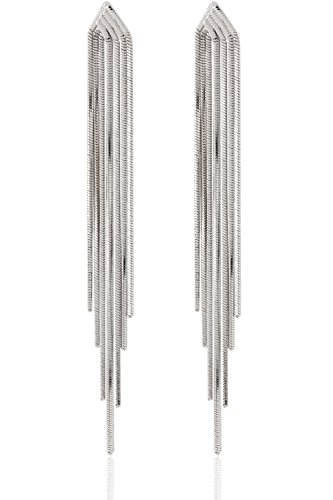p Sleek Chain Tassel Earrings by (Silver) (Dangling Silver Chain Earrings)