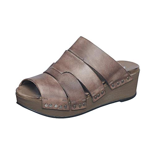 Antelope Women's 444 Grey Leather Four Band Wedge Sandals 41