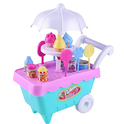 CapsA Ice Cream Toy Cart Play Set for Kids 16PCS Pretend Play Food Educational Ice-Cream Trolley Truck Great Gift for Girls and Boys Early Learning Cooking Truck (B) from CapsA-Toys