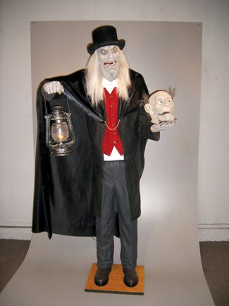 scaretaker animated halloween butler skeleton prop animatronic