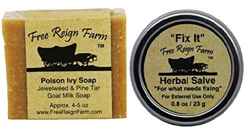 Poison Ivy Soap, One (4-5 oz. Bar) and Fix It Salve, One (0.8 oz. Tin), Two Natural Products for Soothing Poison Ivy Treatment (1)