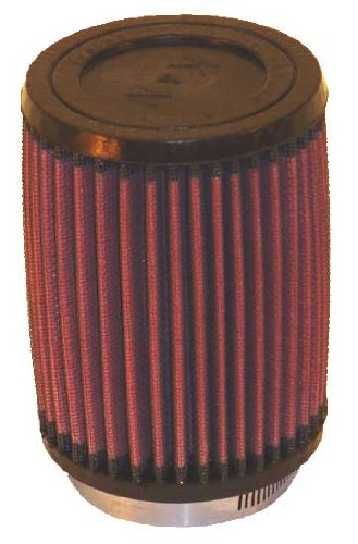 K&N RU-2410 Universal Clamp-On Air Filter: Round Straight; 2.875 in (73 mm) Flange ID; 5.375 in (137 mm) Height; 4 in (102 mm) Base; 4 in (102 mm) Top