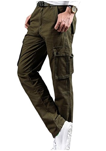 46b3cb7adc4 AngelSpace Mens Multi Pockets Plus-Size Solid Straight Leg Combat Rip-Stop  Pants Army Green 32