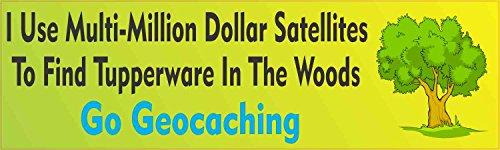 StickerTalk Multi-Million Dollar Satellites Vinyl Geocaching Sticker, 10 inches by 3 inches