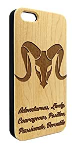 Genuine Maple Wood Organic Astrology Aries Zodiac Snap-On Cover Hard Case for iPhone 5C