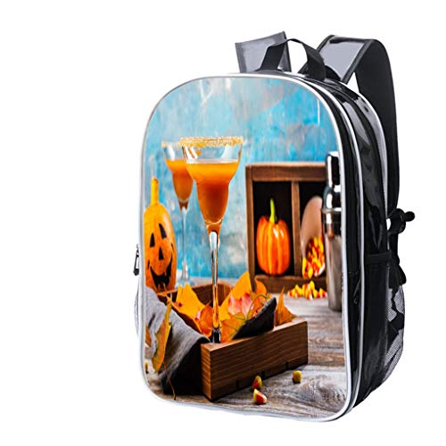 High-end Custom Laptop Backpack-Leisure Travel Backpack Autumn Pumpkin Margarita Cocktail with Halloween Decor Water Resistant-Anti Theft - Durable -Ultralight- -